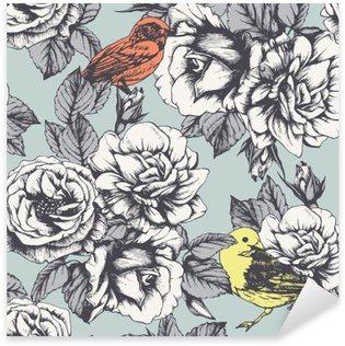 Naklejka Pixerstick Jednolite kwiatowy wzór z ręcznie rysowane róż i ptaków. Wektor