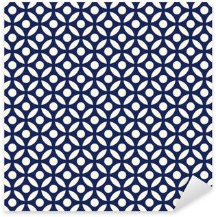 Naklejka Pixerstick Jednolite porcelany indygo niebieski i biały arabski okrągłe wektor wzór