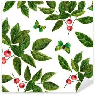 Naklejka Pixerstick Jednolite tło wzór z liści akwarela, jagody i motyli