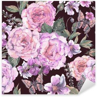 Naklejka Pixerstick Jednolite tło z róż i motyli