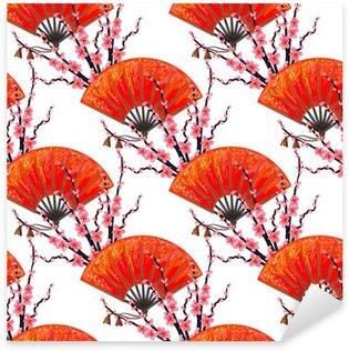 Naklejka Pixerstick Jednolite wzór z wentylatorem Japonia japoński i Sakura Cherry Blossom wektora tle. Idealne do tapety, wzór wypełnienia tła strony internetowej, na powierzchni tekstury, tekstylia