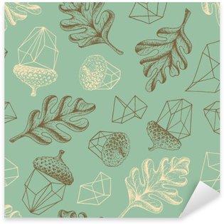 Naklejka Pixerstick Jesień dębowych lasów bezszwowych botanicznych wzór.