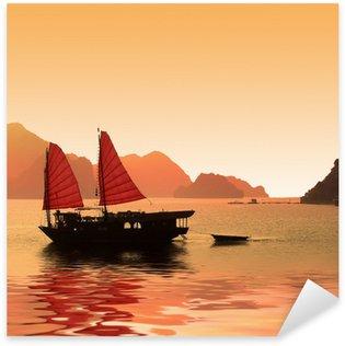 Naklejka Pixerstick Junk w Zatoka Halong - Wietnam
