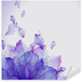 Naklejka Pixerstick Karta Akwarela z purpurowy kwiat płatek
