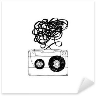Naklejka Kaseta magnetofonowa z splątanych tape.Vector.