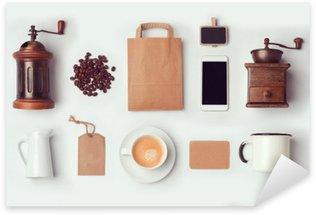 Naklejka Pixerstick Kawiarnia makieta szablon do projektowania marki tożsamości. Widok z góry. Płaski lay