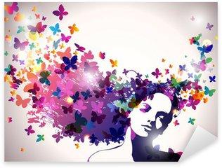 Naklejka Pixerstick Kobieta z motylami we włosach.