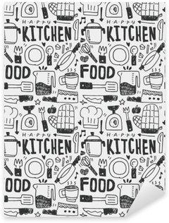 Naklejka Pixerstick Kuchnia elementy ręcznie rysowane Doodles linia ikona, eps10