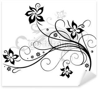 Naklejka Kwiat, wino, czarny, szary