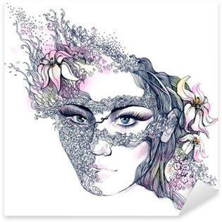 Naklejka Pixerstick Kwiatowy urządzone twarzy
