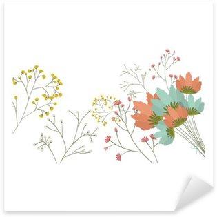 Naklejka Pixerstick Kwiaty ikony. Dekoracje tamtejsze ogród kwiatowy roślinie i wiosną temat. Izolowane projektowania. ilustracji wektorowych