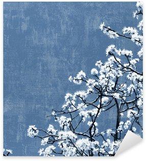 Naklejka Pixerstick Kwitnące drzewa w tle