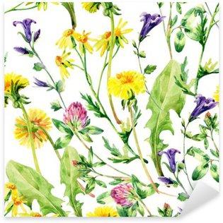 Naklejka Pixerstick Łąka akwarela dzikie kwiaty szwu