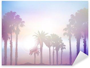 Naklejka Pixerstick Letni krajobraz z palmy retro efekt