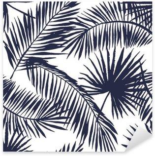 Naklejka Pixerstick Liści palmy sylwetka na białym tle. Wektor bez szwu z roślin tropikalnych.