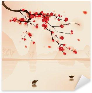Naklejka Malarstwo styl orientalny, kwiat śliwy na wiosnę
