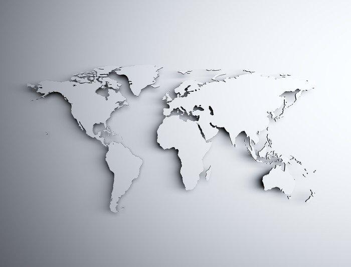 Naklejka Pixerstick Mapa świata 3D • Pixers® • Żyjemy By