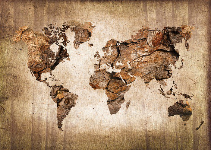 Naklejka Pixerstick Mapa świata drewna, zabytkowe tekstury - Tematy