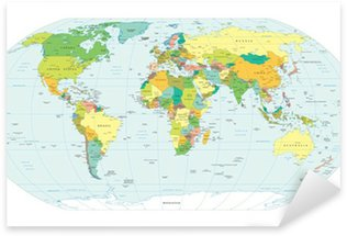 Naklejka Mapa świata granice polityczne