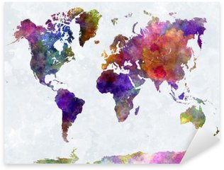 Naklejka Pixerstick Mapa świata w watercolorpurple i niebieskie