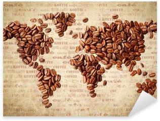 Naklejka Mapa świata z ziaren kawy