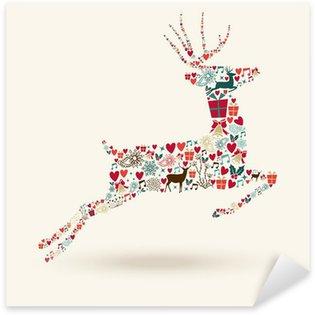 Naklejka Pixerstick Merry Christmas ilustracji skok jelenia