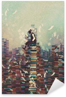Naklejka Mężczyzna czyta książkę siedząc na stos książek, koncepcja wiedzy, ilustracja malarstwo