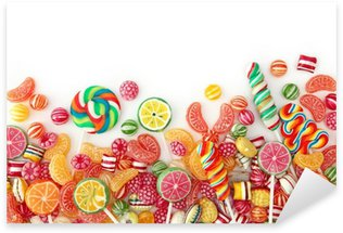 Naklejka Pixerstick Mieszane kolorowe owoce Bonbon bliska