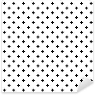Naklejka Pixerstick Monochromatyczny, czarno-białe abstrakcyjne krzyże bezszwowe tło wzór.