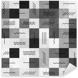 Naklejka Pixerstick Monochromatycznych retro szwu z liniami