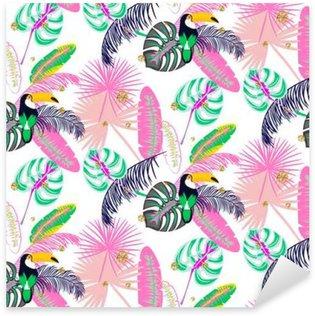 Naklejka Pixerstick Monstera Tropic liście roślin różowe i tukan ptak szwu. Egzotyczna przyroda wzór tkaniny, tapety lub odzieży.
