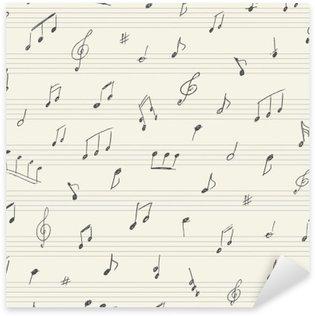 Naklejka Muzyka szwu z odręcznych notatek muzycznych