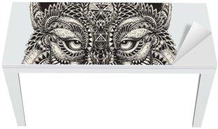 Naklejka na Biurko i Stół Bardzo szczegółowe streszczenie ilustracji wilka