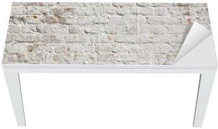 Naklejka na Biurko i Stół Białe grunge ceglany mur w tle