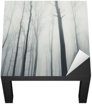 Człowiek w lesie z wysokich drzew w zimie