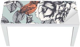 Naklejka na Biurko i Stół Jednolite kwiatowy wzór z ręcznie rysowane róż i ptaków. Wektor