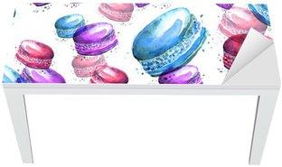 Naklejka na Biurko i Stół Jednolite rocznika wzór z akwarelą. Smaczne kolorowe macaron, makaroniki .__ używać do projektowania, pocztówek, plakatów, opakowań, zaproszeń i innych.