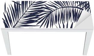 Naklejka na Biurko i Stół Liści palmy sylwetka na białym tle. Wektor bez szwu z roślin tropikalnych.
