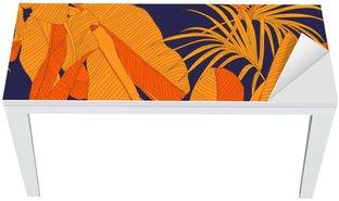 Naklejka na Biurko i Stół Modny tropikalnych tkaniny bez szwu wzór, czerwony liści palmy na ciemnym granatowym tle, ilustracji wektorowych