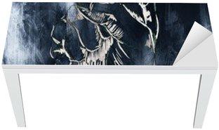 Naklejka na Biurko i Stół Pięść rysunek, szkic ołówkiem na papierze, efekt koloru.