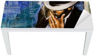 Naklejka na Biurko i Stół Portret mężczyzny z papierosem