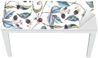 Ręcznie rysowane akwarela Jednolite ornament z naturalnych motywów: oddziały, liści jeżyny i jagody. Powtarzające dekoracyjny ilustracja, granicy z jagód i liści