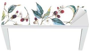 Naklejka na Biurko i Stół Ręcznie rysowane akwarela Jednolite ornament z naturalnych motywów: oddziały, liści jeżyny i jagody. Powtarzające dekoracyjny ilustracja, granicy z jagód i liści