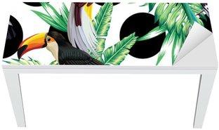 Naklejka na Biurko i Stół Tropikalnych ptaków i liści palmowych wzór