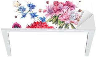 Naklejka na Biurko i Stół Vintage Floral Greeting Card z kwitnących Piwonie