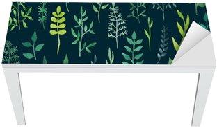 Naklejka na Biurko i Stół Wektor zielony akwarela kwiatowy szwu.