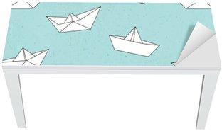 Naklejka na Biurko i Stół Wzór łódź papieru