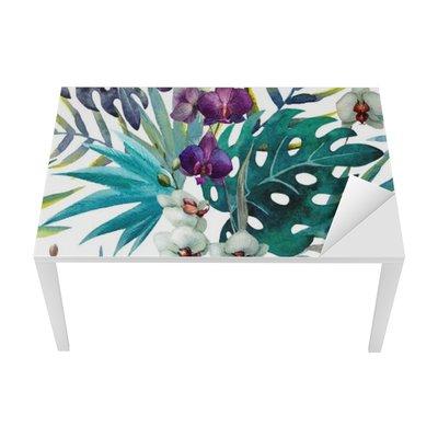 Naklejka na Biurko i Stół Wzór z liśćmi hibiskusa i orchidei, akwarela