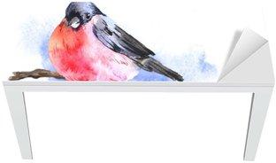 Naklejka na Biurko i Stół Zima akwarela z Bullfinches