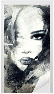 Naklejka na Drzwi Abstrakcyjny portret kobiety